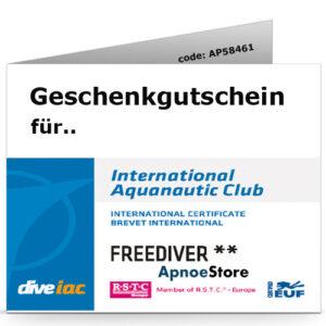 Geschenkgutschein Apnoekurs IAC Freediver Level 2